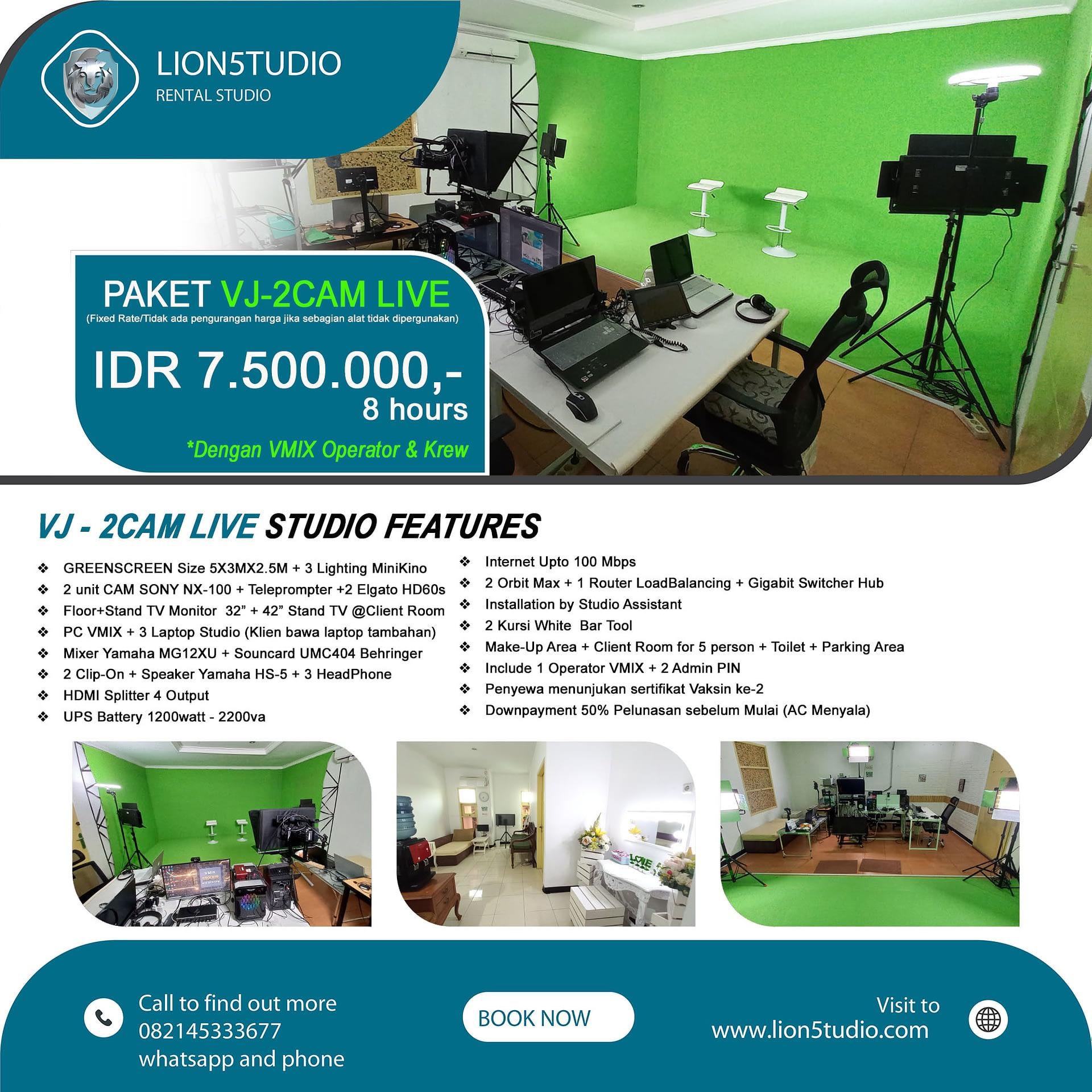 Sewa Studio VJ-2CAM LIVE