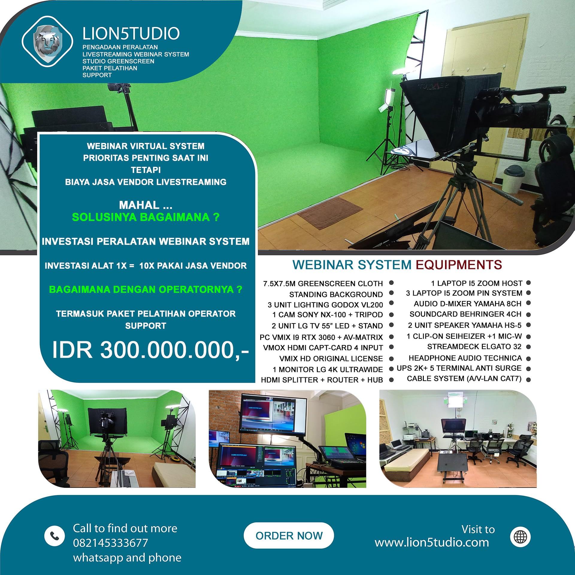 Pengadaan Peralatan Webinar Livestreaming System + Studio Greenscreen Murah